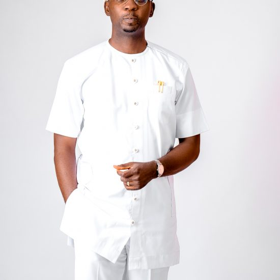 Ogundele Oluwatobi in white kaftan - African Mens Fashion
