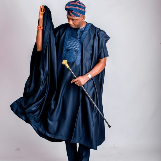 Ogundele Oluwatobi in Navy Blue Agbada - African Mens Fashion