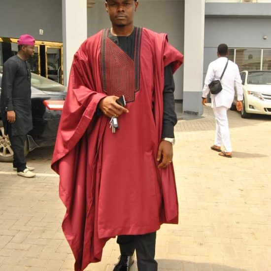 Wine and Black Agbada - African Mens Fashion