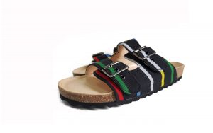 Uyo slippers - Black Multicolored Aso Oke